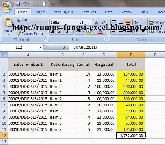 cara menggunakan Fungsi Sum di Excel