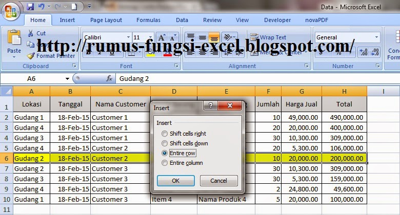 Cara Insert Entire Row & Column di Microsoft Excel