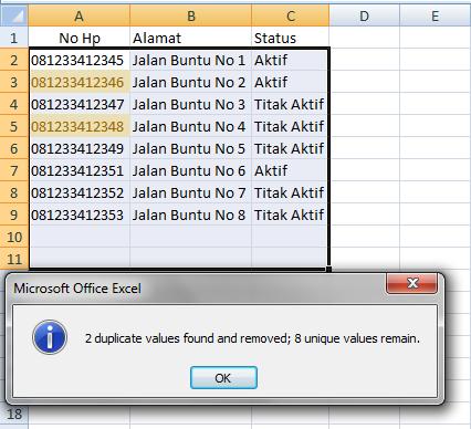 cara menghapus duplikat data dengan data tools
