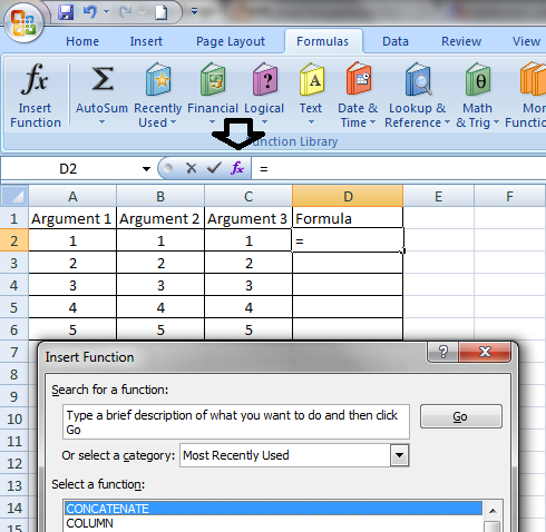 cara menggunakan insert function di excel