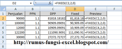 fungsi fixed pada excel