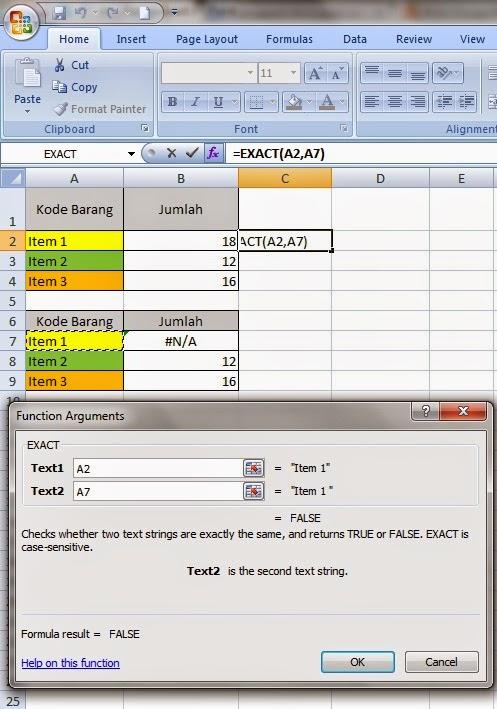 Fungsi Exact di Excel
