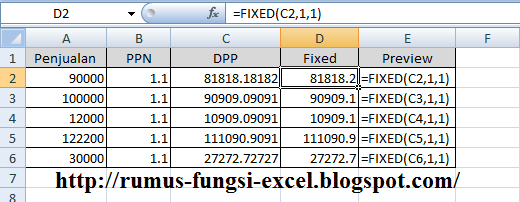 fungsi fixed di excel
