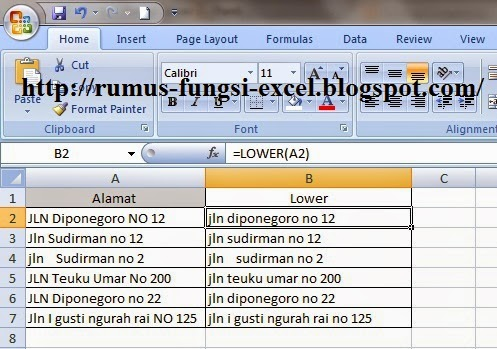 Fungsi Lower di excel