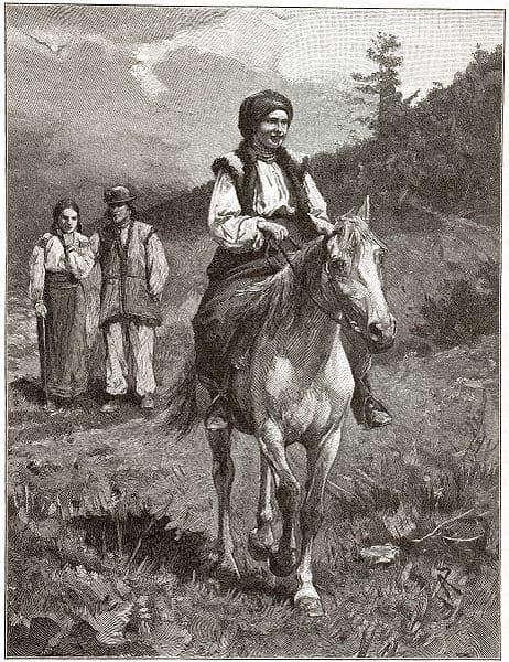 Гуцулка на коні