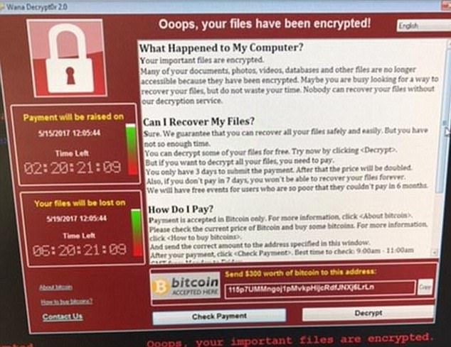 Screen that appeared on hacked computers when the WannaCry ransomware encrypted files