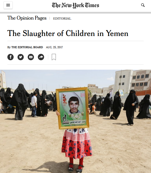 NYT: The Slaughter of Children in Yemen