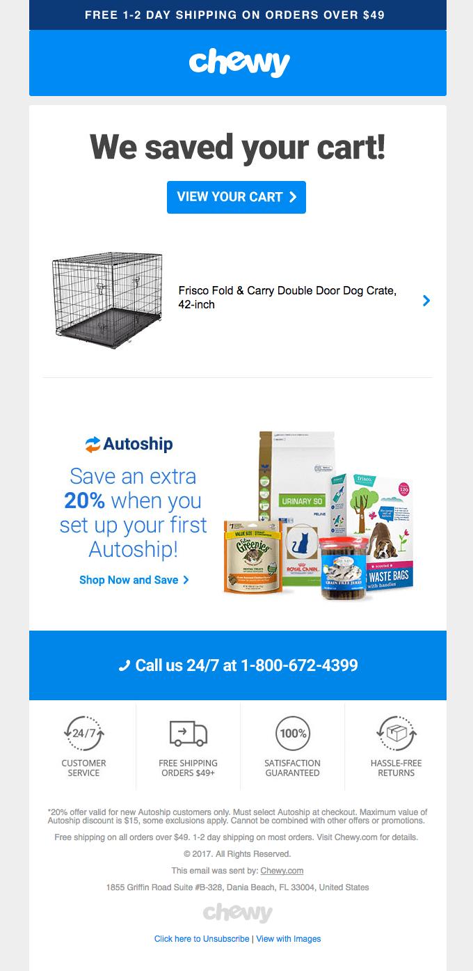 exemplo de email de carrinho abandonado