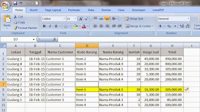 Fungsi Insert Shift Cell Down di Excel