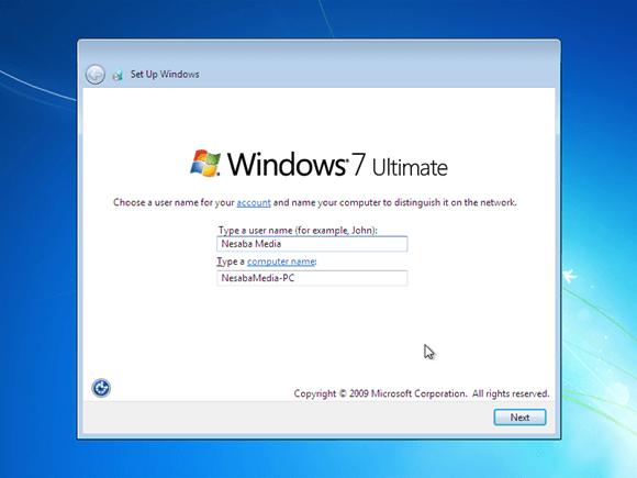 beri nama pengguna dan PC