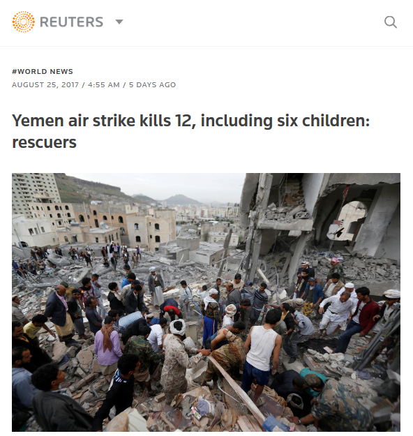 Reuters: Yemen air strike kills 12, including six children: rescuers