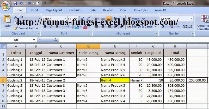 Cara Insert Shift Cell Right di microsoft office Excel