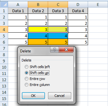 fungsi shift cell up di excel