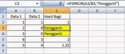 cara menggunakan fungsi iferror di excel