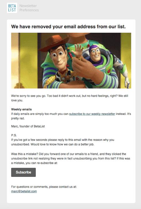 exemplo de email de retirada da lista