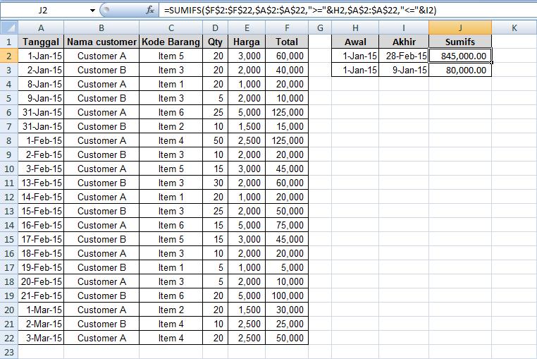 cara mencari nilai dalam rentang tanggal