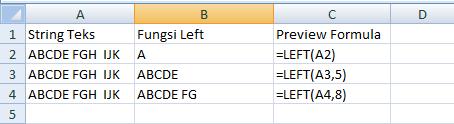 cara menggunakan fungsi left pada microsoft office excel