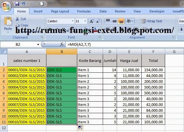 Cara untuk Mengambil Kata Tengah di Excel
