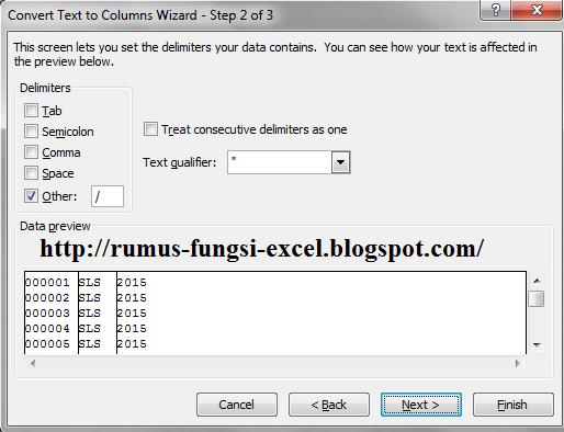 cara menggunakan text to coloum pada microsoft excel