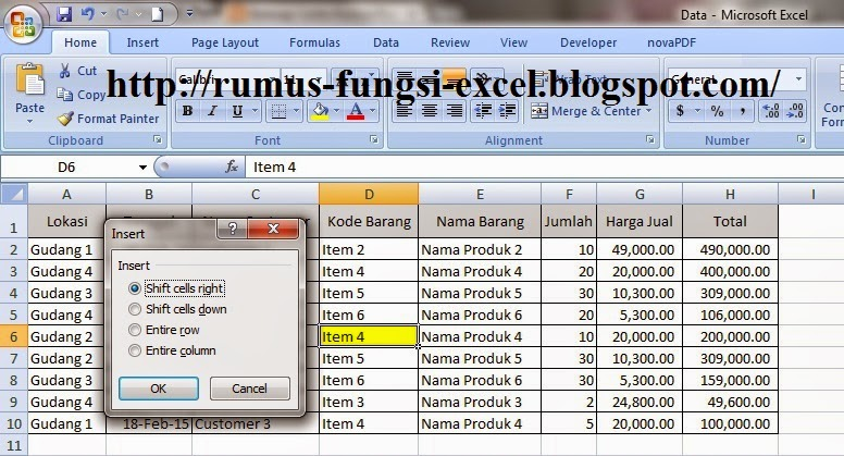 Cara Insert Shift Cell Right di Excel
