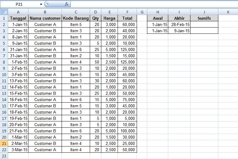 cara mencari nilai rentang tanggal