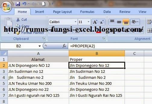 Fungsi Proper di Excel