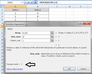 cara menggunakan fungsi index di excel