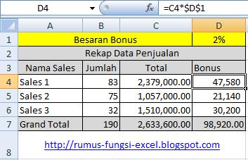 cara menghitung bonus penjualan di excel