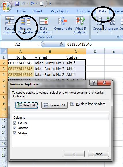 cara menghapus duplikat data dengan data tools di microsoft office excel